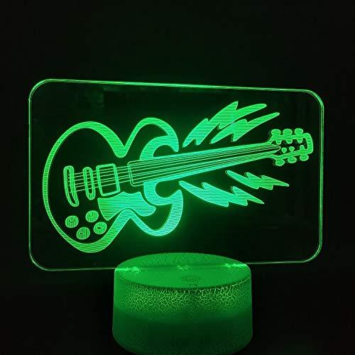 2019 Hot 3D Lámpara de mesa cambio de color La guitarra Realista Músico presente Decoración interior Lámpara de mesa