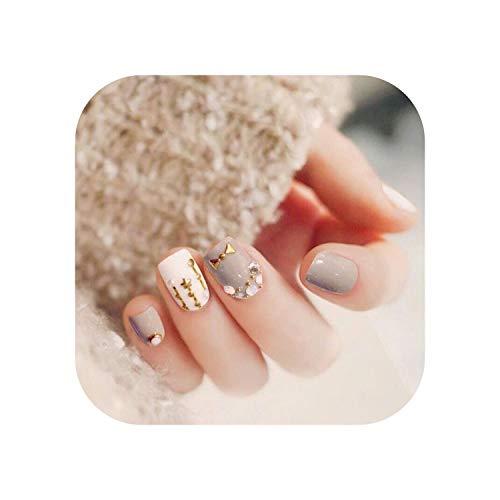 24PCS Hochwertige Vollabdeckung Falsche Nägel Schleifen und Sterne Stein Gefälschte Nägel Drücken Sie auf Nail Art Gefälschte Verlängerungsspitzen mit Aufkleber-