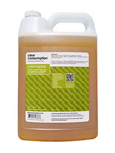 Clear Consumption Natural Lemongrass Foaming Hand Soap Refill 1 Gallon - Made from USDA Organic Vegetable Oils - For Commercial & Personal Foaming Soap Dispensers