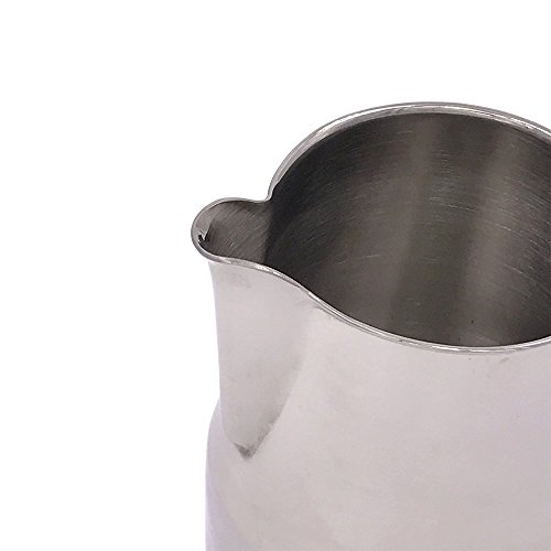 WINGKIN 304 Stainless Steel Frothing Pitcher 26 oz Food Grade, Milk Jug with Wide Spout for Easy Pouring