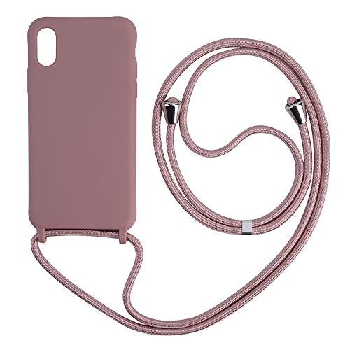 Ququcheng Funda Compatible con iPhone X/XS,Ajustable Collar Correa de Cuello Cordón Cuerda Carcasa TPU Bumper Silicona Skin Caso para iPhone X/XS-Rose Oro