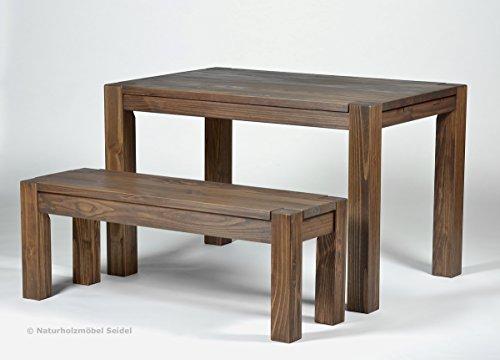 Sitzgruppe Rio Bonito Farbton Cognac braun mit Esstisch 120x80cm + 1x Sitzbank 100x38cm Pinie Massivholz geölt und gewachst Tisch und Bank, Optional: passende Bankauflagen und Ansteckplatten