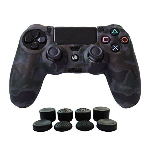 Hikfly Silicona Gel Control de Aceite de Goma Cubierta de Piel Protectora Caso Faceplates Kits para Sony Playstation 4 PS4 / PS4 Slim / PS4 Pro Controller with 8 FPS Pro Pulgar Tope Tapas(Gris)