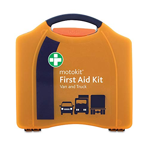 Motokit Van and Truck First Aid in Orange Compact Aura Box - Includes Wall Mountable Bracket