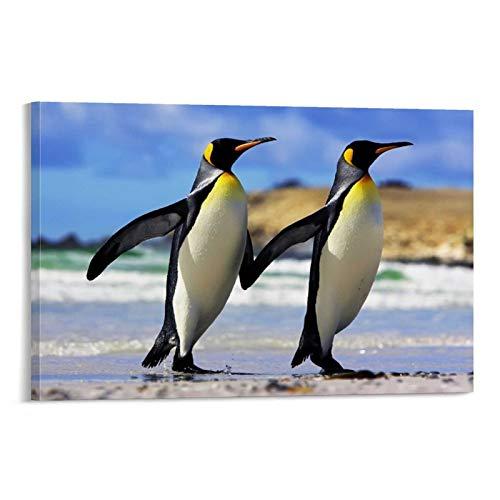 JTYK Pingüino Pareja Pingüino Póster Pintura Decorativa Lienzo Arte Pared Pared Póster, Cuadro Cuadro de Pareja de Pingüinos 60 x 90 cm