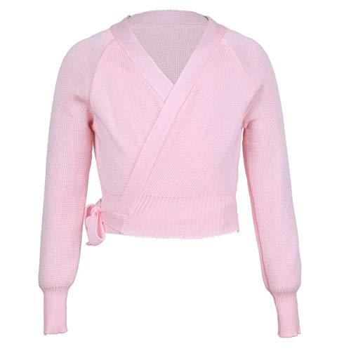 iiniim Kids Girls Classic Long Sleeve Ballet Dance Wrap Knit Cardigan Sweater Tops Pink 3-4 Years