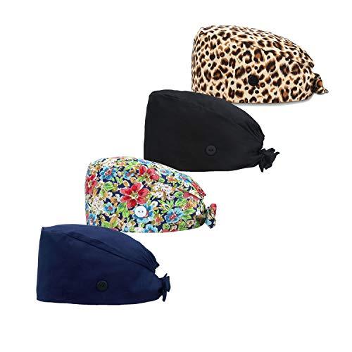 Dfit Adjustable Working Cap with Button, 4 PCS, Cotton Working Hat Sweatband, Elastic Bandage Tie Back Hats for Women & Men, One Size, Leopard + Gouache Flower + Black + Navy