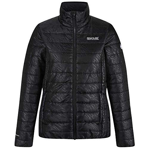 Regatta Damen Wms Freezeway Ii Lightweight Insulated Baffle Quilted Jacket With Zipped Pockets Jacke, Schwarz/Zebramuster, 40