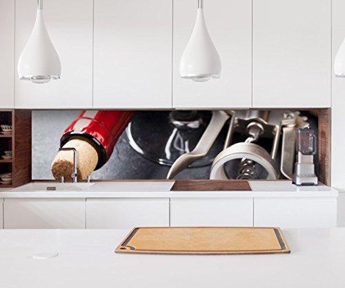 Aufkleber Küchenrückwand Wein Glas Kniepe Flasche Rot Folie selbstklebend Dekofolie Fliesen Möbelfolie Spritzschutz 22A1190, Höhe x Länge:60cm x 60cm