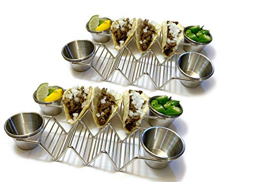 Premium Stainless Steel Taco Holder with Removable Sauce Cups - 4 Pack - Holds 2-3 Tacos Per Holder - Rust Proof and Dishwasher Safe - Best Quality and Style