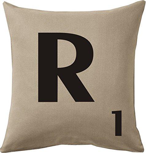 Cojines con la Letra R imitación fichas de Scrabble o apalabrados Medida 45X45 cm. Color beig. Solo Funda