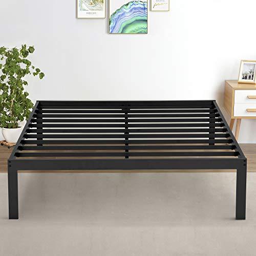 Olee Sleep 16 Inch Metal Platform Bed Frame with Steel Slat Support, King, Black