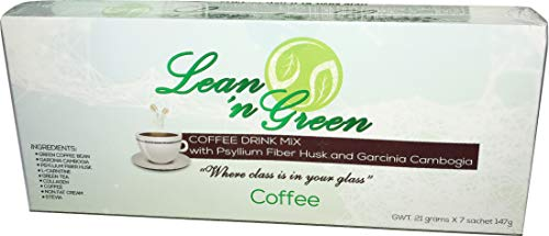 Lean N Green Slimming Weight-Loss Coffee - All Natural, Vegan and Sugar-Free; Perfect for the Health-Conscious People; 1 Box of 7 Packets x 21 grams
