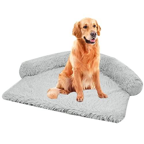 Letto per cani calmante grande e comodo materasso con peluche lungo 4 cm per animali domestici, comodo divano letto per cani di piccola e media taglia M, rotondo grigio chiaro