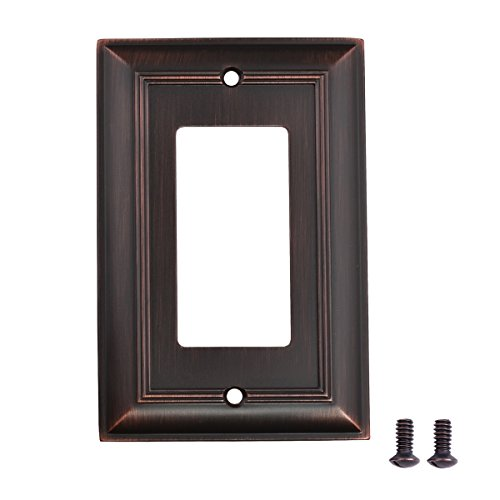 Amazon Basics Single Gang Light Switch Outlet Wall Plate, Oil Rubbed Bronze, 3-Pack
