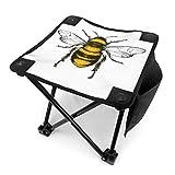 アウトドア 椅子 白のミツバチのベクトル彫刻イラスト アウトドア 椅子 ピクニック 釣り コンパクト イス 持ち運び キャンプ用軽量 収納バッグ付き 折りたたみチェア レジャー 背もたれなし