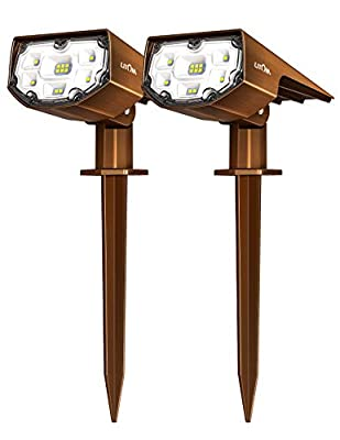 LITOM 12 LEDs Solar Landscape Spotlights, IP67 Waterproof Solar Powered Wall Lights 2-in-1 Wireless Outdoor Solar Landscaping Lights for Yard Garden Driveway Porch Walkway Patio 2 Pack Bronze-Colored
