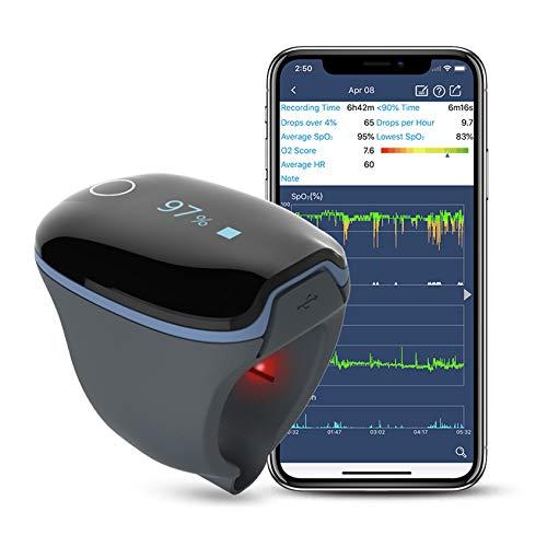 GINUX® bei Wellue smart O2 Ring Sauerstoffsättigung Messgerät finger -über Nacht Pulsoximeter Fingeroximeter für besseren Schlaf - kostenlose PC und Handy App Bluetooth