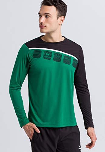 ERIMA Herren 5-C Longsleeve, smaragd/schwarz/weiß, XL, 1331905