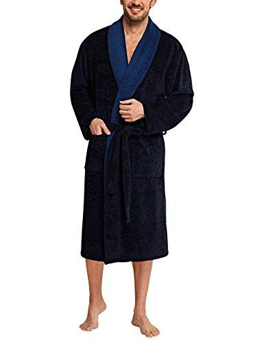 Schiesser Herren Selected Premium Bademantel, Blau (blau 800), Large (Herstellergröße: 052)