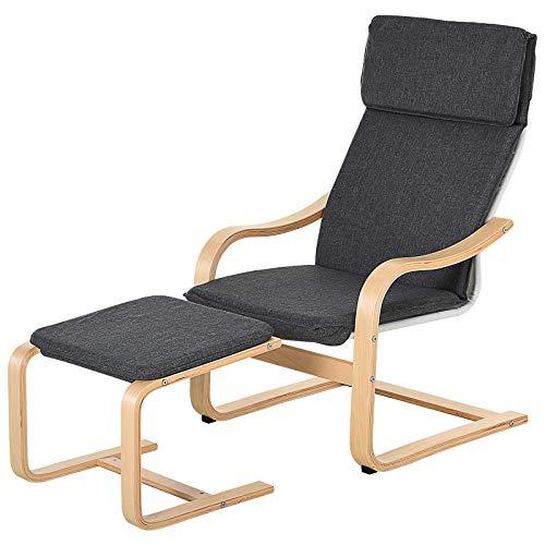 HOMCOM Relaxsessel mit Fußhocker, Ruhesessel mit Armlehne, Relaxstuhl, Leinenbezug Holzgestell Grau 65 x 69 x 98 cm