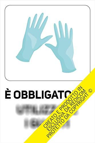 Generico Cartello Covid 19'Obbligo Guanti - 20x30 cm - 3 Pezzi - Adesivo per Interni - ETCOV20
