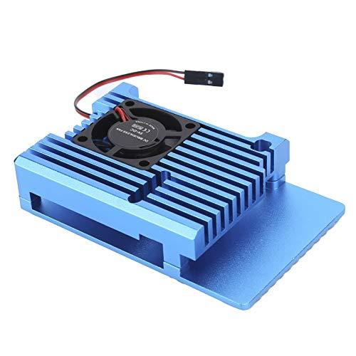 Cubierta protectora duradera del CNC del disipador de calor de un solo ventilador, cubierta protectora del disipador de calor para el radiador de la caja de aleación de aluminio Raspberry Pi 4(azul)