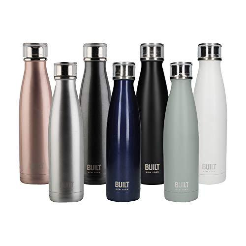 BUILT Perfect Seal Doppelwandig isolierte Getränkeflasch aus Edelstahl, 480 ml (17 fl oz) – Mitternachtsblau