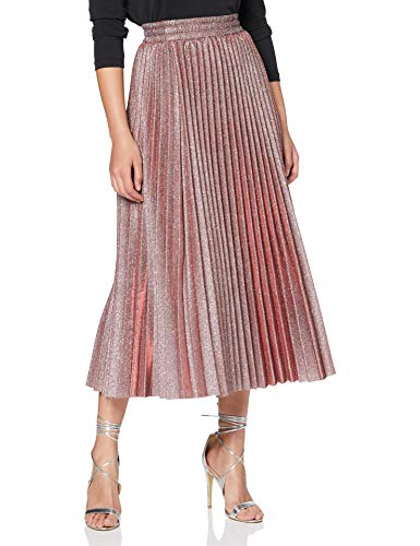 New Look Go Glitter Pleated Midi Skirt Gonna, Nero, 16 Donna