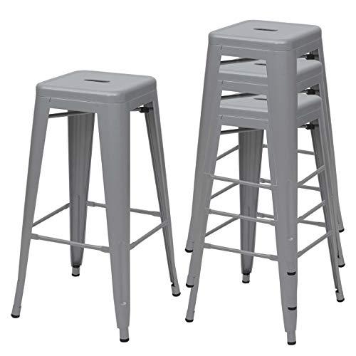 Mendler 4X Tabouret de Bar HWC-A73, Chaise de comptoir, métal, empilable, Design Industriel - Gris