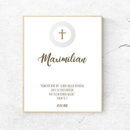 Persönliches Geschenk - Poster zur Taufe mit Name, Taufspruch und Taufdatum