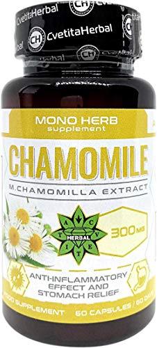 Kamillenextrakt | 60 Kapseln x 300 mg (2 Monate Vorrat) | Mono Herb Serie | Hohe Absorption | Hohe Festigkeit | Nahrungsergänzungsmittel von Cvetita Herbal