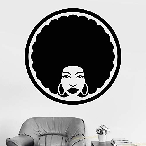 Vinyl Wall Decal Afro Frisur Friseur Black Lady Aufkleber Abnehmbare Barber Shop Wandtattoos...