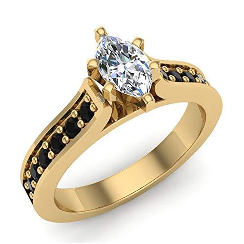 Anillos de compromiso de diamantes Anillos de diamantes negros talla marquesa Estuche para anillos de regalo Tarjetas de autenticidad 3/4 quilates t.w. (G, I1) (Tamaño del anillo 5.5)