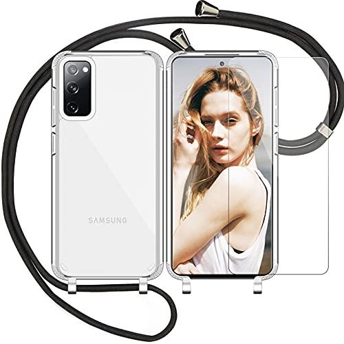 Nupcknn Funda Silicona Líquida con Cuerda para Samsung Galaxy S20 Fe 5G y Protector Pantalla, Carcasa Suave Silicona Case con Correa Colgante Ajustable Collar de Cuello Cadena Cordón (Transparente)