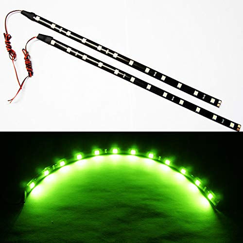 "SOCAL-LED 2x 30cm 12"" Green Flexible LED Strips High Power Bright 5050 12 SMD Car DRL Under Dash Accent Light, Waterproof, Cuttable"