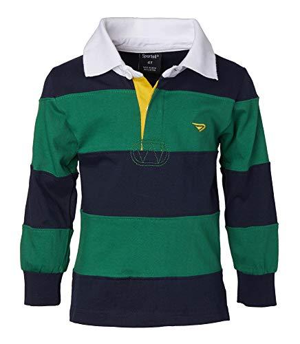 Sportoli Big Boys 100% Cotton Wide Striped Long Sleeve Polo Rugby Shirt - Green (Size 18)