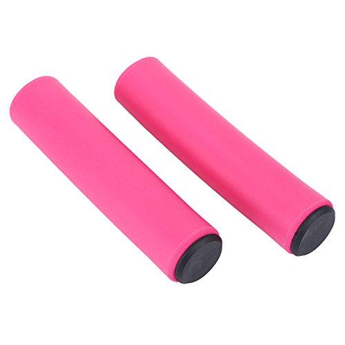 Fahrrad Lenkergriffe weiche Sponge Griffe mit Endkappe für Mountainbike(Pink)