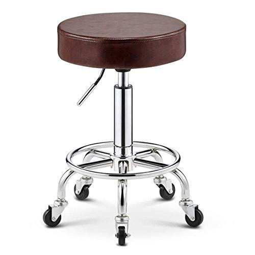 SXRDZ Grooming Hocker mit Rollen, Sattel Barhocker mit Dunkelgrün PU Kunstleder Sitz, Einstellbare Höhe 45-55 cm, Stützen Gewicht 160 kg, Straddle Hocker for Salon Spa Massage Tätowierung Gesicht Hair