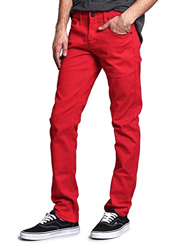 Victorious Men's Skinny Fit Color Stretch Jeans DL937 - Red - 32/32
