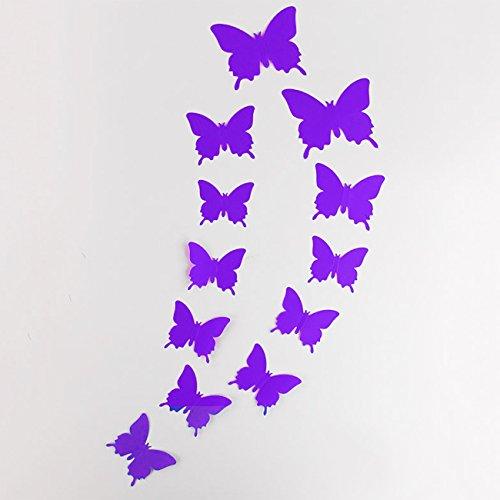 DP Design® 12 x blauwe vlinders van PVC met 3D-effect, ideaal voor wand, kast, spiegel, thuisdecoratie