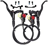 BUCKLOS 【US Stock MTB Hydraulic Disc Brakes, Aluminum Alloy Front Rear Disc Brake Levers, Fit for Mountain Bike PM is Adapter with 53.1inch Rear Cable