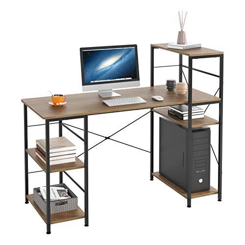 HOMECHO Schreibtisch mit Ablage Computertisch Vintage Holz Officetisch PC-Tisch für Gaming Arbeitszimmer Wohnzimmer Bürotisch im Industrie-Design Braun 133x56x110,5 cm