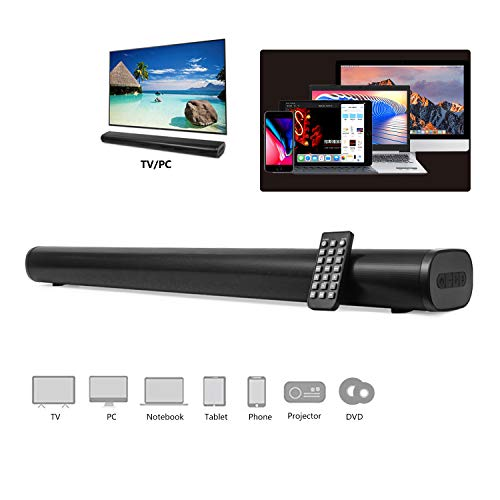 AKIXNO Soundbar 2.0, 40W Bluetooth 5.0 TV Sound Bar with Built-in Dual Subwoofer, Adjustable Equalizer Mode Home Theater Speakers for TV PC, HDMI/Optical/AUX/USB/TF Card/DC in/LINE in, 32 INCH, SR250