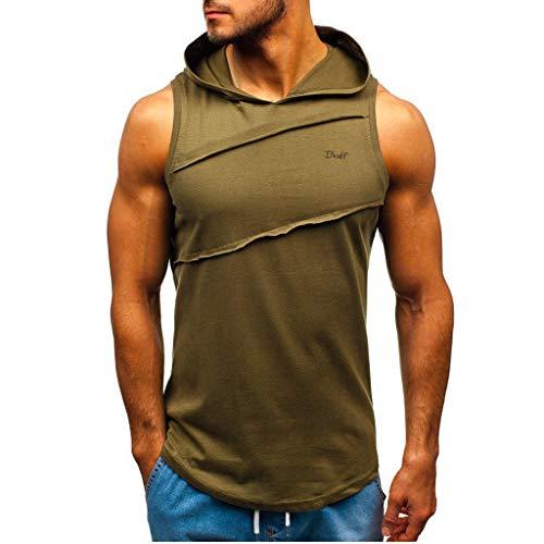 Moda Color Sólido Chaleco de Verano para Hombre Sudadera con Capucha Camiseta sin Mangas Deportivos Casuales Sudadera Tops Camisetas de Tirantes Chaquetas de Hombre MMUJERY