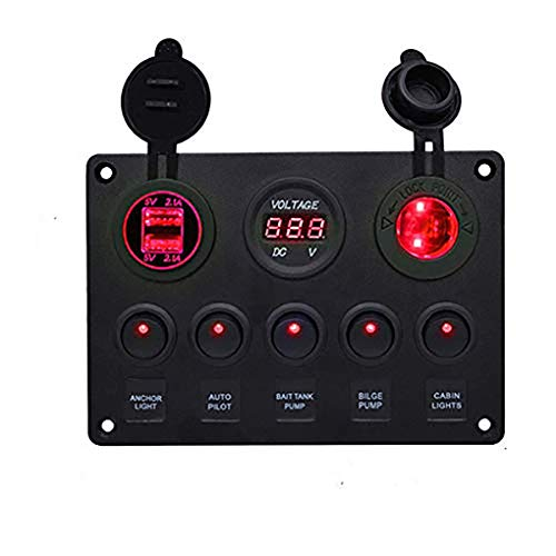 Panel Multifunción para Barco - Panel de Interruptor de Palanca de Encendido/Apagado de 5 Unidades, Cargador de Enchufe USB Dual 2.1A y 2.1A + Encendedor de Cigarrillos + Voltímetro LED, Rojo