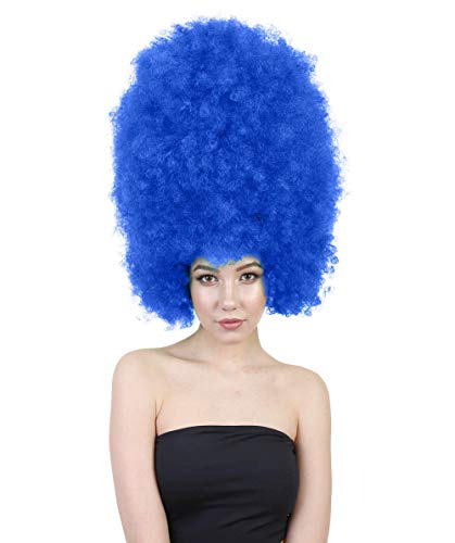 Halloween Party Online Super Size Jumbo Afro Wig Collection, Breathable Capless Designed Adult & Kids (Adult, Dark Blue)