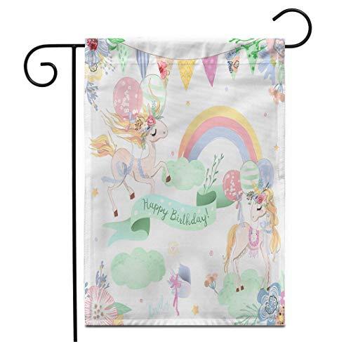 hongwei 12,5 'x 18' Gartenflagge Schöne Einhörner Set Sammlung von Happy Birthday Clipart Süße Einhörner mit Luftballons im Freien Doppelseitige dekorative Haus Hof Flaggen