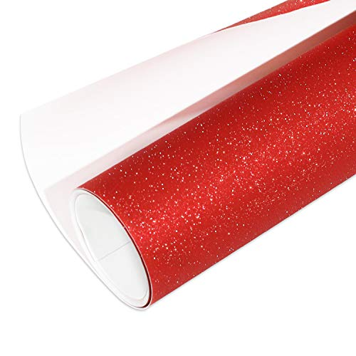 Glitter Red Permanent Adhesive Vinyl 1x5ft Christmas Decoration Craft Vinyl Works with Cameo and Other Cutters for Home Decor