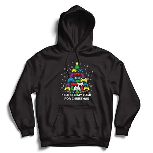 lepni.me Sudadera con Capucha Pausé mi Juego para Navidad Equipo de Juego Divertido (XX-Large Negro Multicolor)